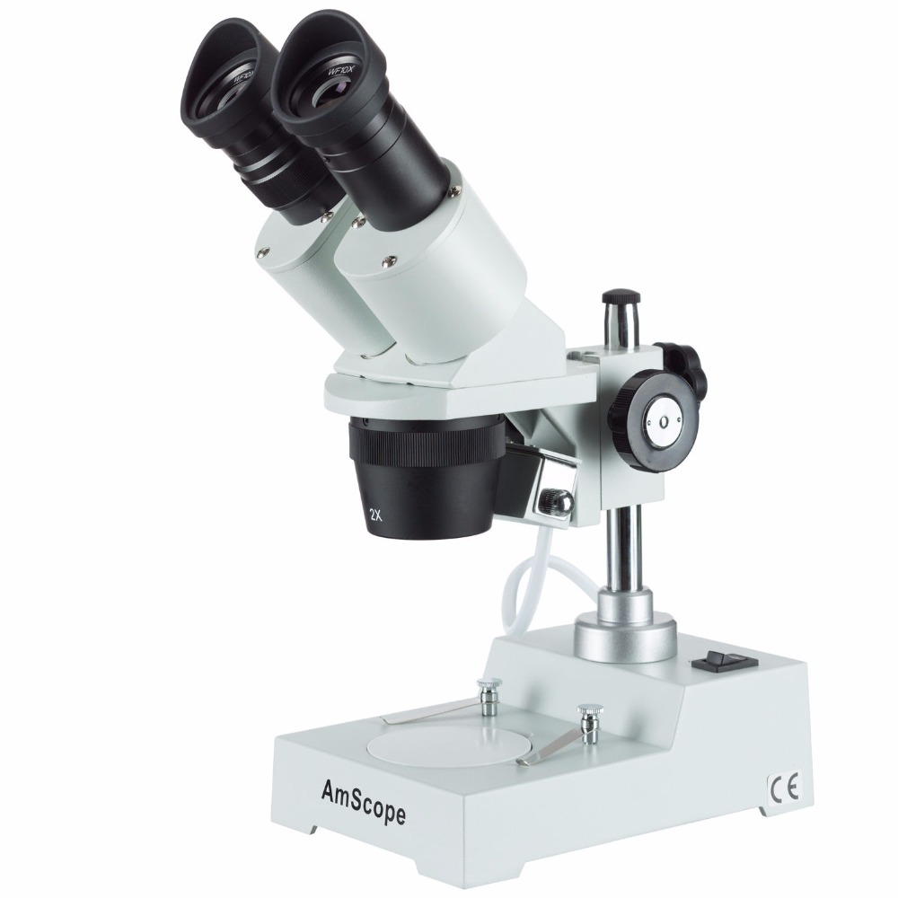 Sharp Forward Stereo Microscope--AmScope Supplies Sharp Forward Stereo Microscope 20X-40X SKU: SE304R-P amscope sw 3t24z trinocular stereo microscope wh10x eyepieces 20x 40x 80x magnification 2x 4x objective single arm boom stand includes 2 0x barlow lens