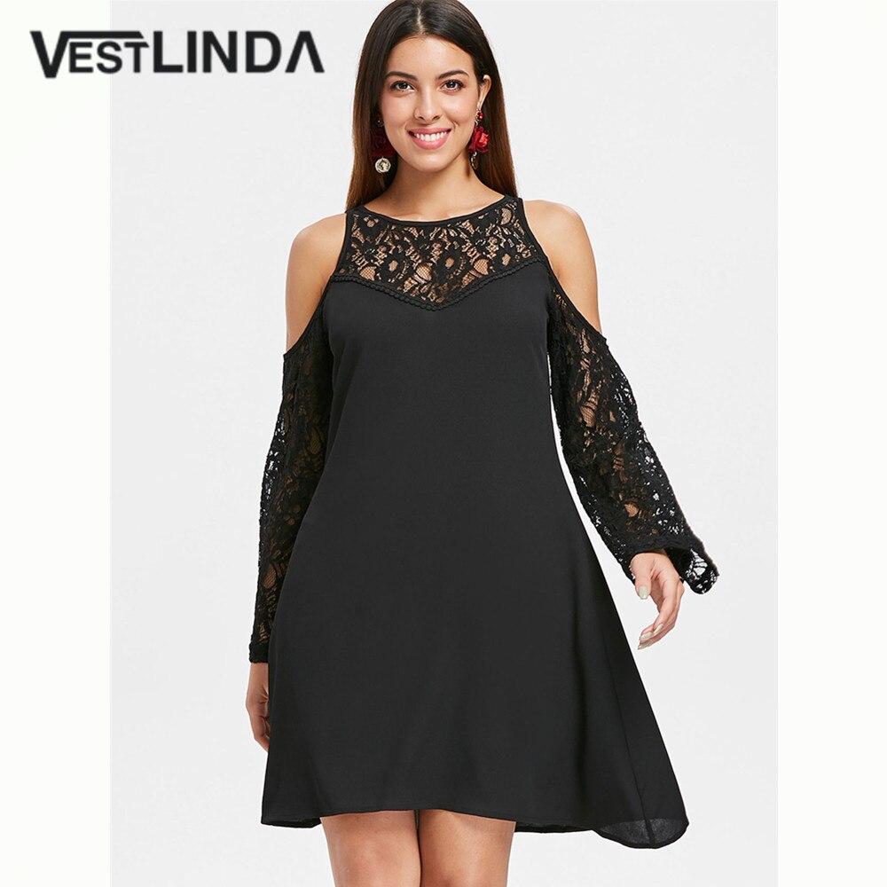 VESTLINDA кружевное платье с открытыми плечами с длинным рукавом однотонное черное платье Весна Осень женское Повседневное платье трапециевид...