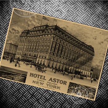 HOTEL ASTOR NEW YORK Vintage poster Paper retro HD photo USA building wall old sticker living room painting prints posters image
