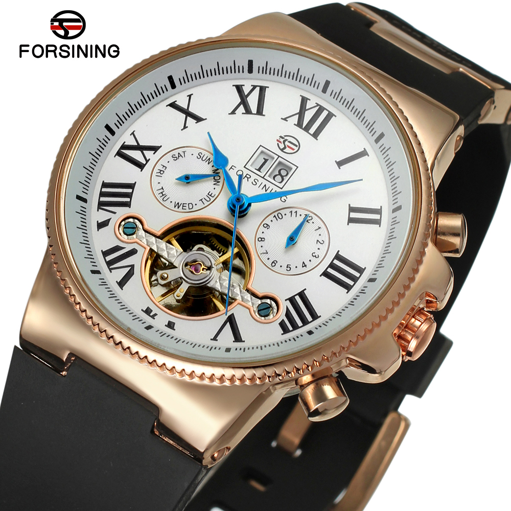 Forsining Tourbillon Watches Men Luxury Brand Silicone Band Automatic Wristwatch Auto Date Roman numerals Dial Clock forsining automatic tourbillon men watch roman numerals with diamonds mechanical watches relogio automatico masculino mens clock