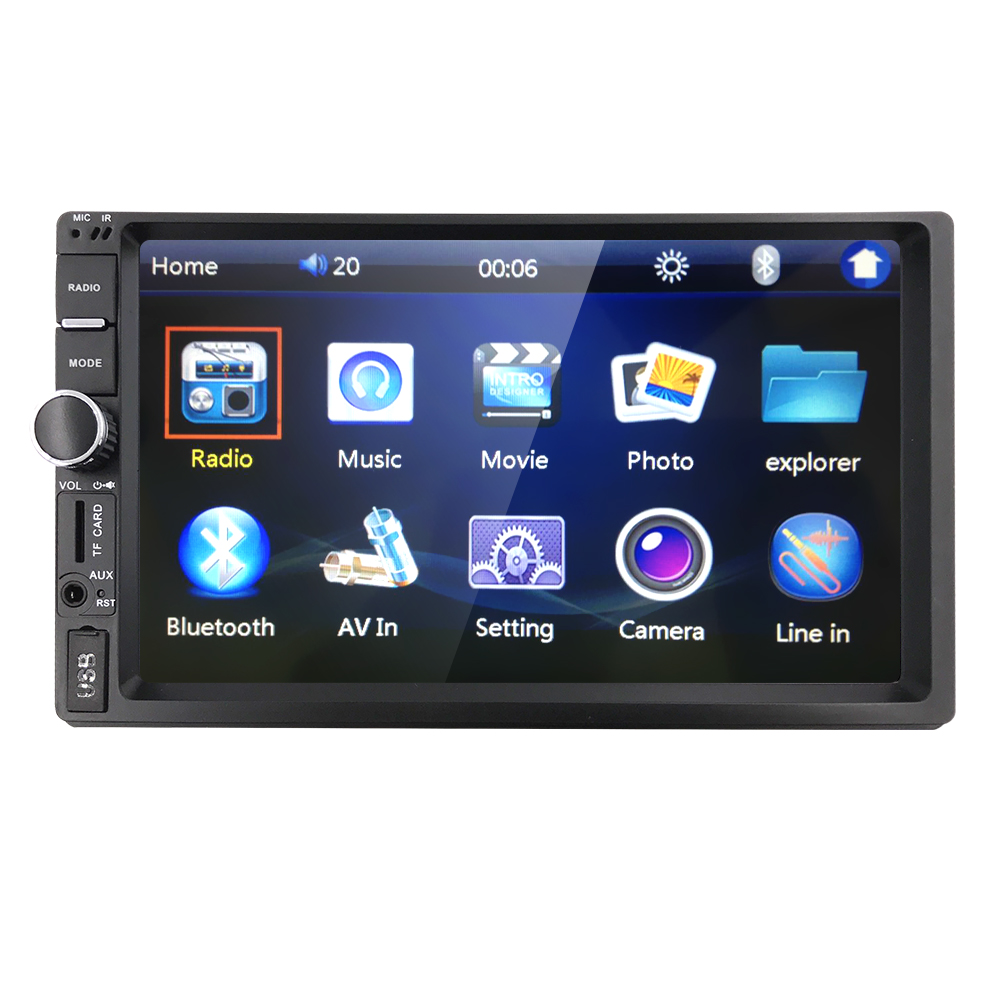 7'' HD Bluetooth Touch Screen Car Stereo Radio 2 DIN FM/MP5/MP3/USB/AUX Player Bluetooth Steering wheel control AV-IN Cam-in kit 2017 6 2 hd capacitive touch screen car bluetooth stereo dvd player cd mp3 fm am usb sd aux in 2 din receiver mp4 mp5 player