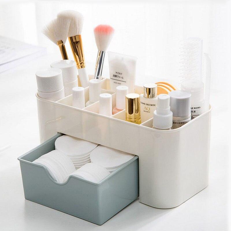 YiCleaner Plastic Cosmetic Box Storage Drawer Make Up Box Brush Pen Holder Organizing Boxes Cotton Swabs Stick Storage Case