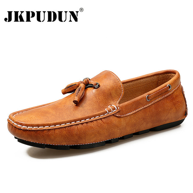 e22cdf187a2 JKPUDUN Italian Mens Shoes Brands Tassel Loafers Casual Boat Shoes Men  Luxury Genuine Leather Driving Shoes Moccasins Man Flats