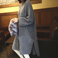 Mujeres moda grueso suéter largo otoño invierno primavera ropa pus tamaño hilo o-cuello medio-largo flojo femenino suéter caliente