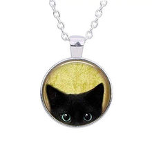 Black Cat Necklace - Peeking Black Cat Pendant - Cute Black Cat Accessories Jewelry 2019 New Fashion Bird Printed Necklace(China)