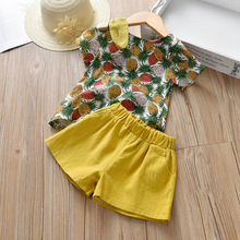 summer kids clothes girls clothing set baby girl fashion christmas toddler pineapple print cotton shorts thanksgiving outfits цена и фото