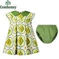 Summer Infant Girls Dress Set Floral Sleeveless Peter Pan Collar Green Dresses+Shorts Baby Toddler Beach Holiday Dress Clothes