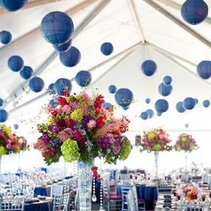 "Image 4 - 20 pcs 6 "" 12"" Marineblauw Papieren Lantaarn Chinese Japanse Ronde lampion voor Wedding Party lanterne papier babyshower Opknoping Decor"