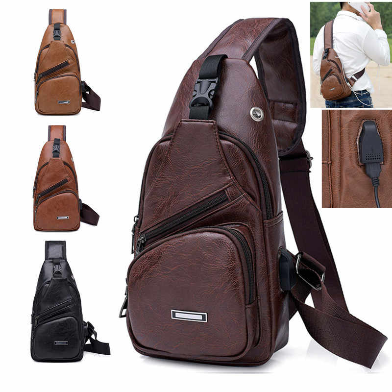 Cross-Border For Custom PU Shoulder Bag Men'S Charging Bag Men'S USB Chest Bag Diagonal Package Messenger Bag Chest New 2019