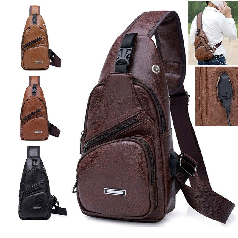 Transfronterizas para personalizado PU hombro hombres bolsa de carga hombres USB pecho bolsa de mensajero paquete Diagonal pecho nuevo 2018