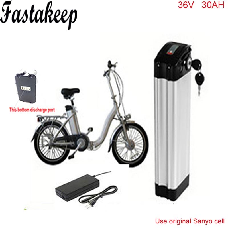 Vidange par le bas 36 v 30ah batterie au lithium-ion pour ebike 36 v 1000 w argent poissons ebike batterie avec chargeur Pour Sanyo cellulaire