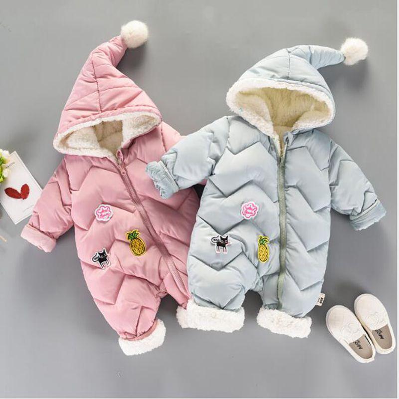 Bébé Snowsuit infantile garçons filles combinaison hiver épais barboteuse nouveau-né bébé bambin bébé vêtements mignon à capuche chaud vêtements