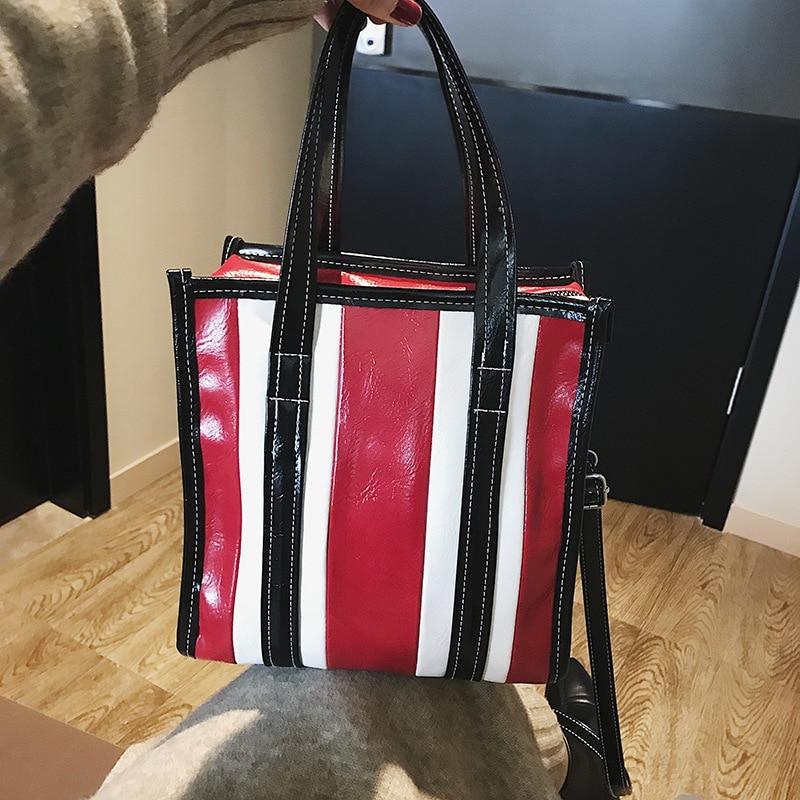 Bucket Large Bag Stripes Simple big tote designer crossbody messenger women handbags bolsas para mujeres 2018