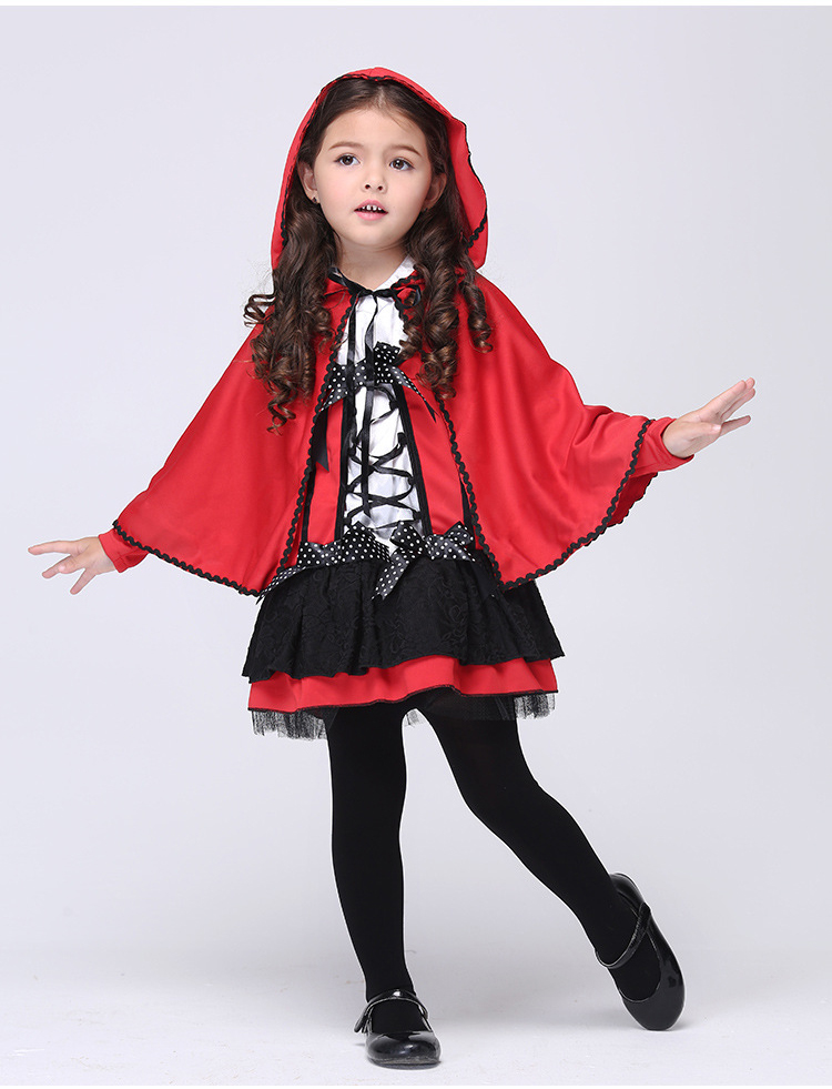 Y03-X003 Children kid's Cosplay Dress Princess Dress Halloween Party Costume Clothes Red little devil with cloak set halloween party cosplay devil rubber mask red black