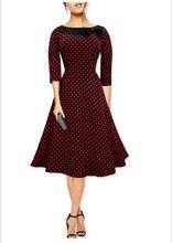 Free Shipping Dark Blue/Wine Red/Red/Black O Neck Bow 3/4 Long Sleeves Dots Vestidos De Fiesta Elegant Evening Party Dress