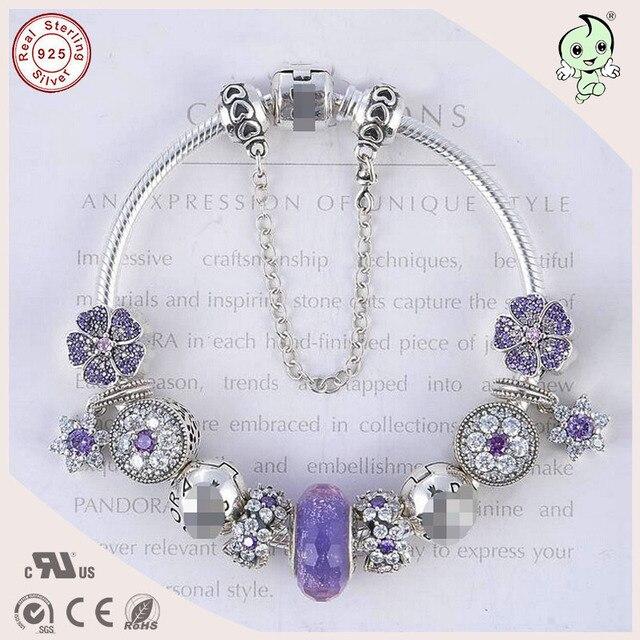 Высокое Качество Благородный Европейский Популярные Фиолетовый Серебряный Цветок Подвески Дизайн 925 Настоящее Серебро Браслет Для Дам