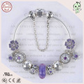 High Quality Noble European Popular Purple Silver Flower Design Charms  925 Real Silver  Bracelet For Ladies