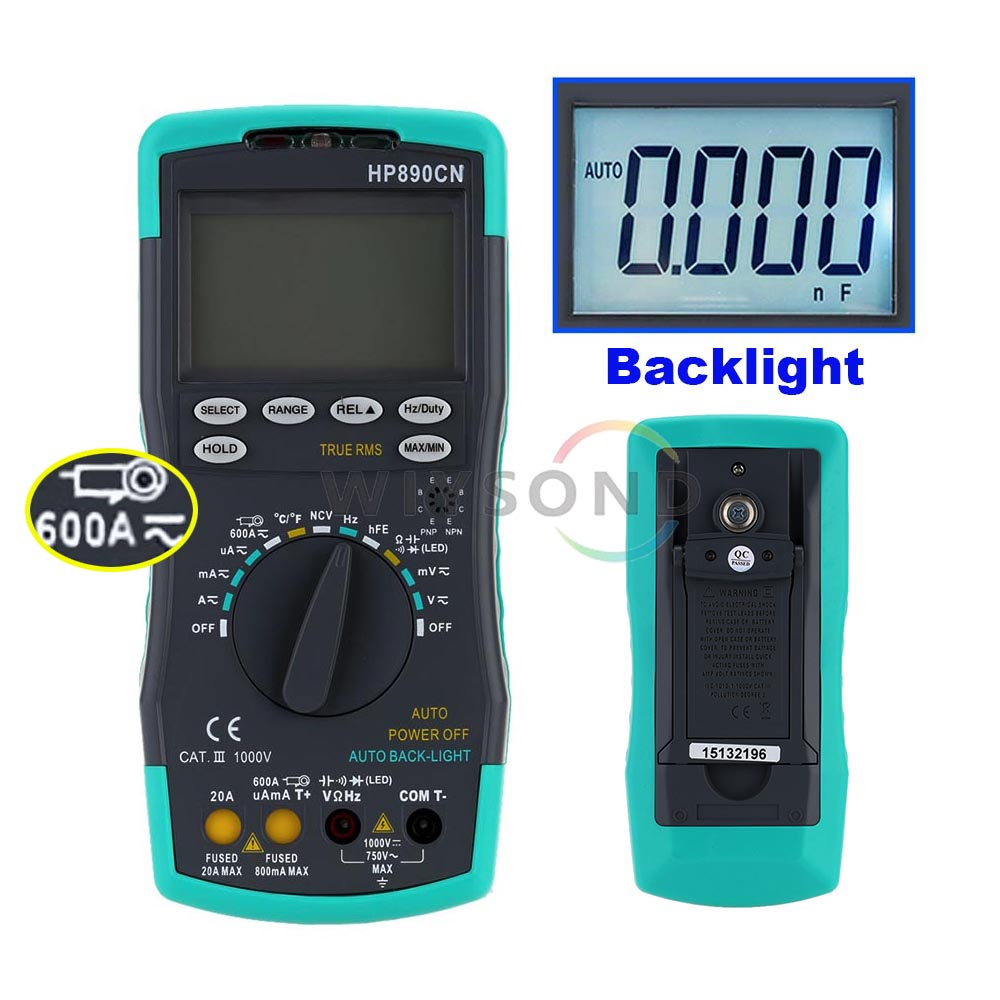 HP-890CN HP-890CN 6000 Digital Multimeter (+CLIP) DMM NCV DC AC Voltage 600A Current Meter Resistance Diode C Tester Backlight