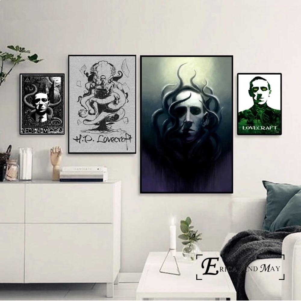 asfrata265 Lovecraft Horrorible Portrait Leinwand Malerei Poster Und Drucke Bild Vintage Poster Home Decor Framework Rahmenlose Malerei Pon-471 50X70Cm