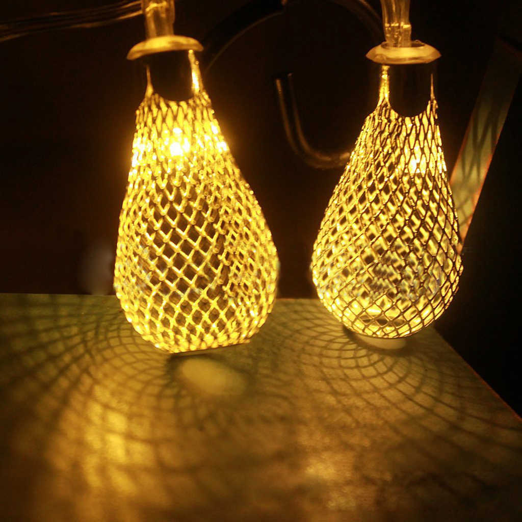 20 Led 86inch Battery Operated Diwali Decor Waterdrop String Lamp Lights Home Cafe Wedding Party Decorations
