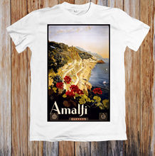 VINTAGE TRAVEL POSTER AMALFI ITALY RETRO UNISEX T-SHIRT Hot Sell 2018 Fashion  T Shirt Short Sleeve Tricolor New Shirts