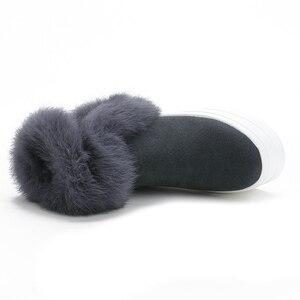 Image 3 - SWYIVYของแท้หนังผู้หญิงฤดูหนาวWarm Rabbit Furรองเท้าผ้าใบหิมะรองเท้าผู้หญิง2019รองเท้าบู๊ทข้อเท้าหญิงCausalรองเท้า