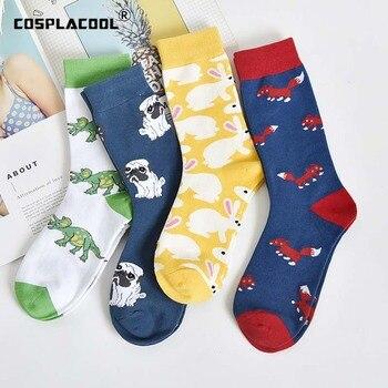 COSPLACOOL Harajuku calcetines divertidos animales creativo japonés lindo Pug diseño de conejo Calcetines Mujer cálida novedad encantadora mujer Sokken