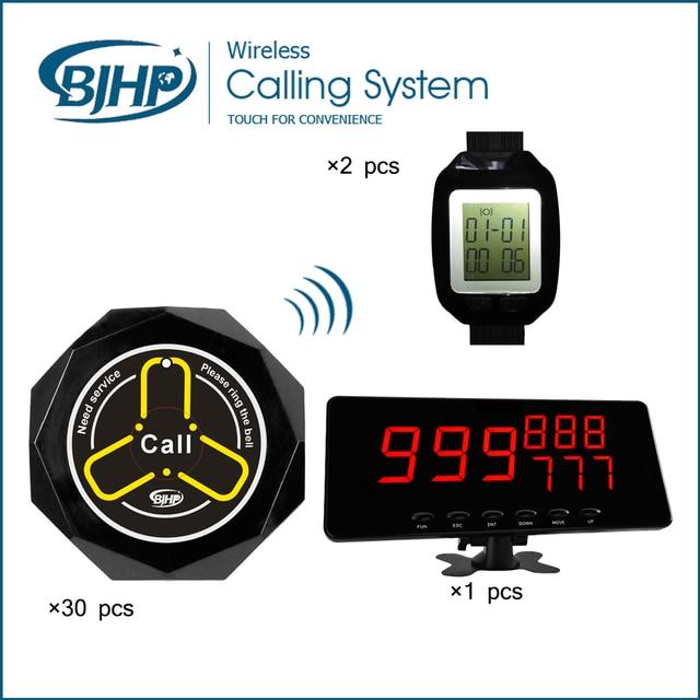 Wireless sistema de llamada del restaurante campana de la tabla (1 Panel Display + 30 Botones de Llamada + 2 Reloj Localizador)