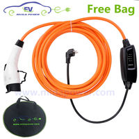 10 Meter 16Amp Type 1 Portable EVSE Charging With EU Schuko Type 1 Portable EV Charger Cable 16A SAE J1772 EV Charging Cord bag