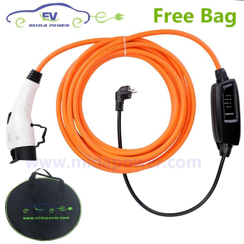10 mètre 16Amp Type 1 Portable SAVE cordon du chargeur De Charge Avec L'UE Schuko Type 1 Portable EV 16A SAE J1772 EV cordon de chargement sac
