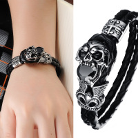 Hip Hop Fashion Bracelet Explosion Models Jewelry Personalized Leather Bracelet Diamond Kito Skull Domineering PH846
