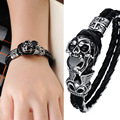 Alta qualidade pulseira de couro genuíno Titanium jóia de aço inoxidável fresco do Punk Rock estilo crânio Men ' s pulseiras