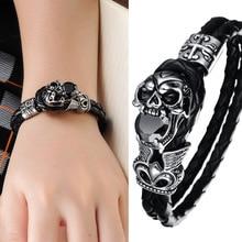Haute qualité véritable Bracelet en cuir titane en acier inoxydable bijoux Cool Punk Rock Style crâne hommes Bracelets