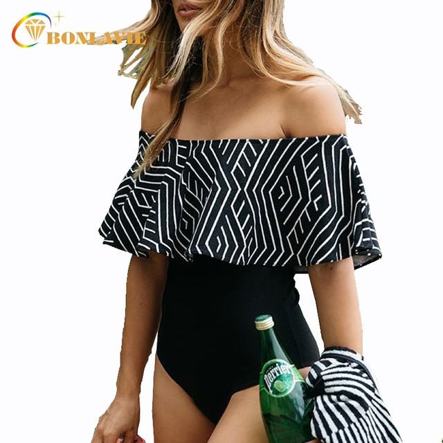 Off The Shoulder Ruffle Swimwear One Piece Swimsuit Women 2017 Beach Bathing Suit High Waist Monokini Swim Wear