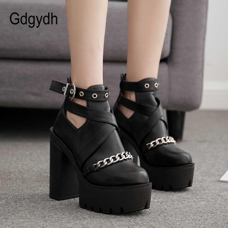 Gdgydh Drop Shipping moda zinciri kadın ayakkabı fermuar kare yüksek topuk yarım çizmeler kadınlar için Punk ayakkabı platformu bahar sonbahar