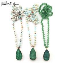 цена на Bohemian Fashion Jewelry women Semi Precious Stones Long Knotted Drop Pendant women Necklaces Pendant long stone beads Necklaces