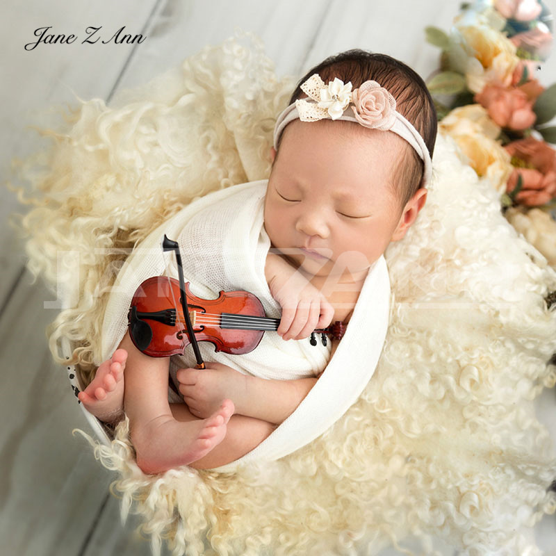 Jane Z Ann Newborn photography props newborn baby auxiliary props creative mini wooden violin instrument  photography props