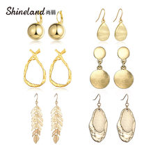 Shineland Fashion Statement 2019 Big Geometric Metal earrings For Women Hanging Dangle Drop Earrings for Women Punk Gifts Cheap(China)