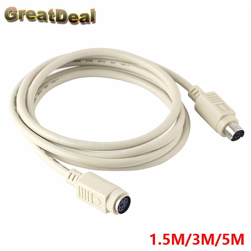 6 Pin PS2 PS/2 Male To Female Extender Cable Adapter Joiner Connector 6Pin Keyboard Mouse Extension Cable Wire HY417 1pcs lot md6f line md6 female mouse and keyboard to 4p terminal line 50cm