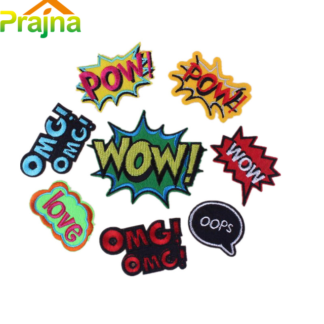 c23fff8a0 8PCS Cool Letter Patch POW Kids Cartoon Iron On Cute Funny Patches ...
