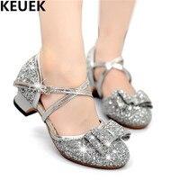 NEW Spring Summer Girls Leather Shoes Child Princess Fashion Glitter Bowtie Baotou Sandals Kids Buckle Strap
