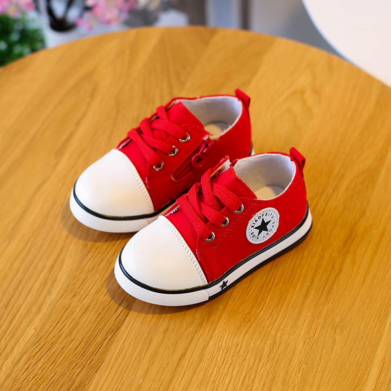 Children Soft Bottom Spring Canvas Shoes Goosegrass Bottom Boy Casual Shoes Belt Stars P ...