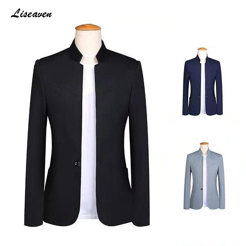 Liseaven Blazer 2019 Men's Stand Collar Jackets Men Slim Blazers Single Button Plus Size 5XL Mens Blazer Black Jacket