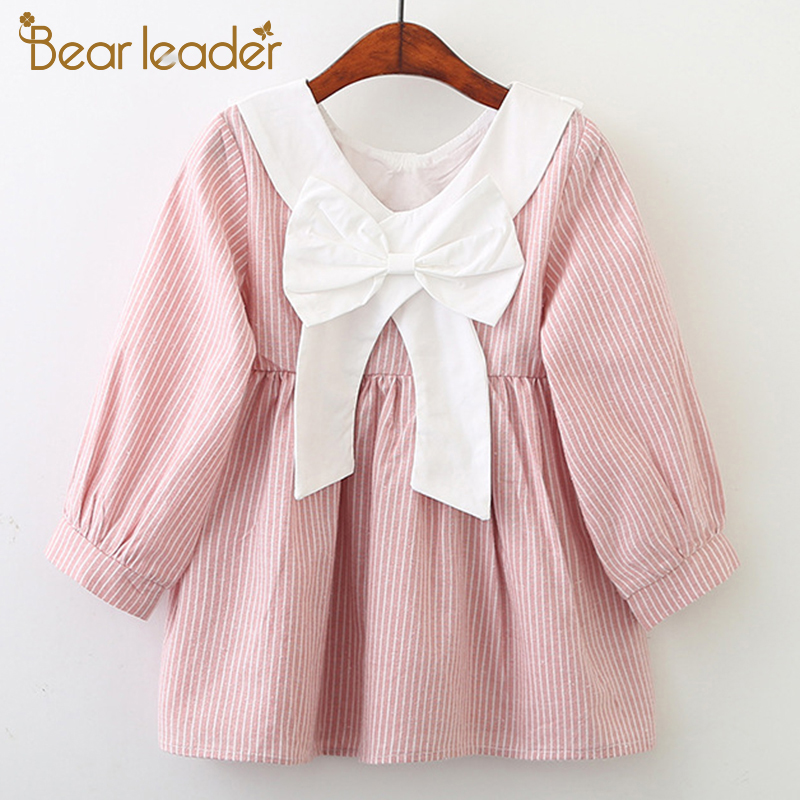 Orso Leader Girls Dress New Brand Primavera Back Bow Dress for Girl Robe a righe Fille Ruffles Full Petal Sleeve Abbigliamento bambini 3-7Y