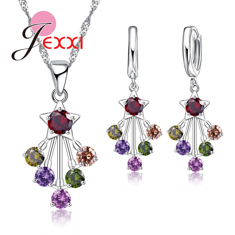 Fashion 925 Sterling Silver Engagement Jewelry Set Star Pendant Necklace Earrings Wholesale With Colorful CZ Crystal