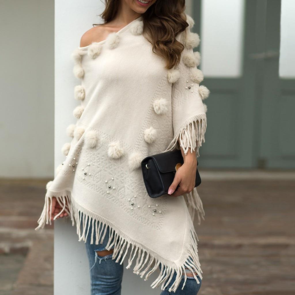 Autumn Casual Sweater Women O-Neck Solid Hairball Tassel Cloak Loose Shawl Sweater Coat Korean Style Women Modis Sweater #YL10