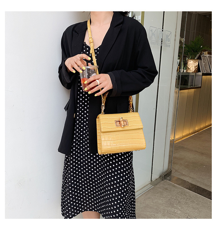 YELLOW New Alligator Pattern Small Women Square Handbag Bamboo Handle Tote Bag