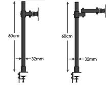 DL-T801 10-27″ Steel single arm lcd tv table mount  tilt 360 rotate monitor desktop stand vesa 75 100 full motion bracket