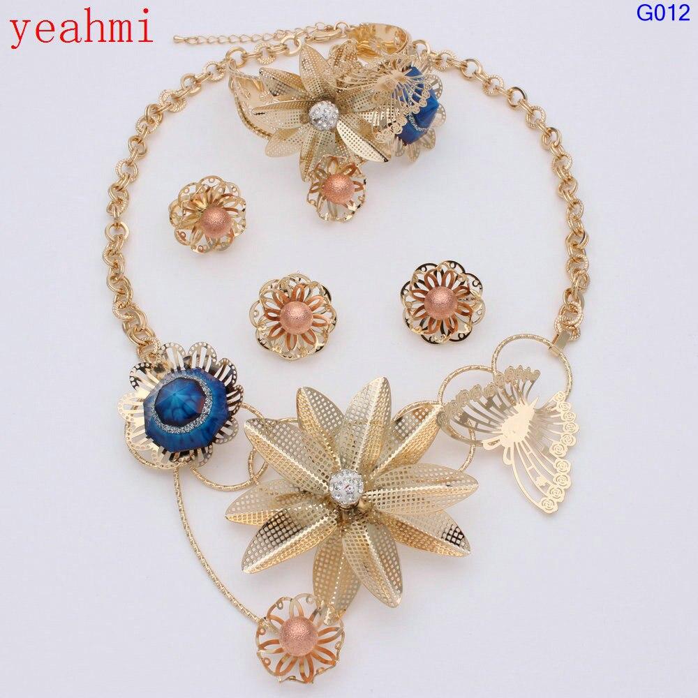 2017 Fine Gold Jewellery Set Sexy Women Romantic Noble Wedding Necklace Ring Earrings Bracelet Fashion Sunflower Jewelry Sets