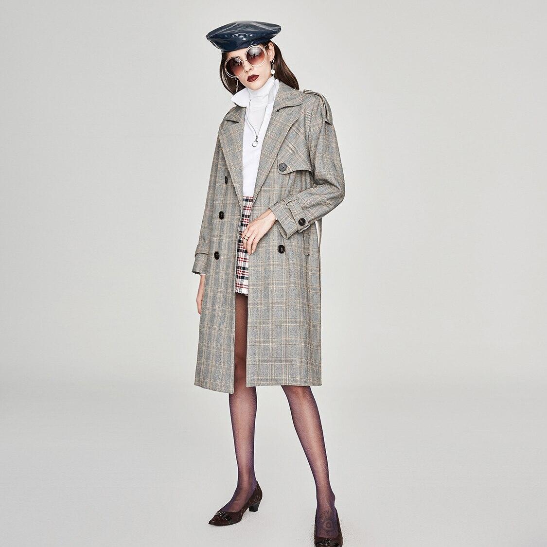 JAZZEVAR nowy 2019 jesienna moda ulicy na co dzień kobiet w stylu Vintage plaid podwójne piersi wykop płaszcz odzieży wysokiej jakości w Wełna i mieszanki od Odzież damska na  Grupa 3